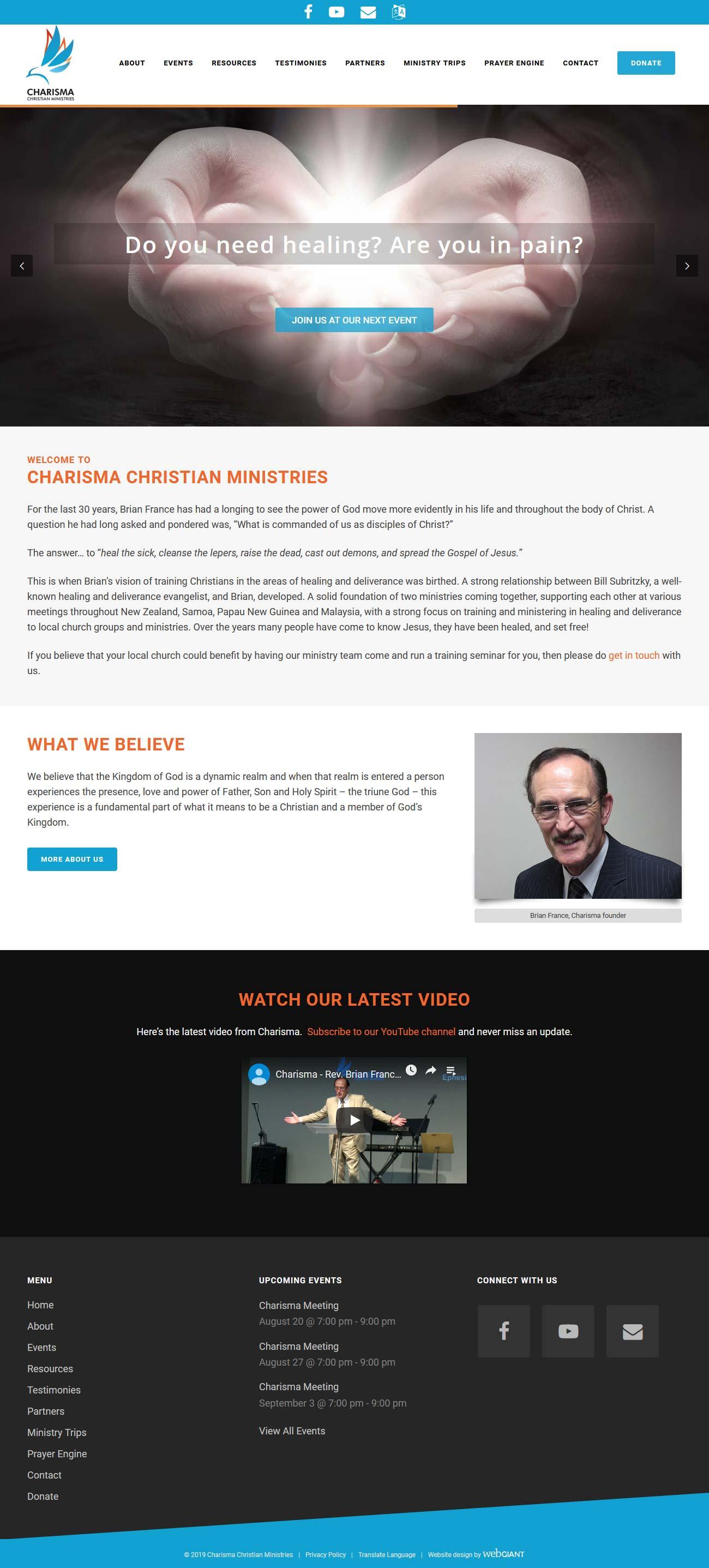 Website design for Charisma