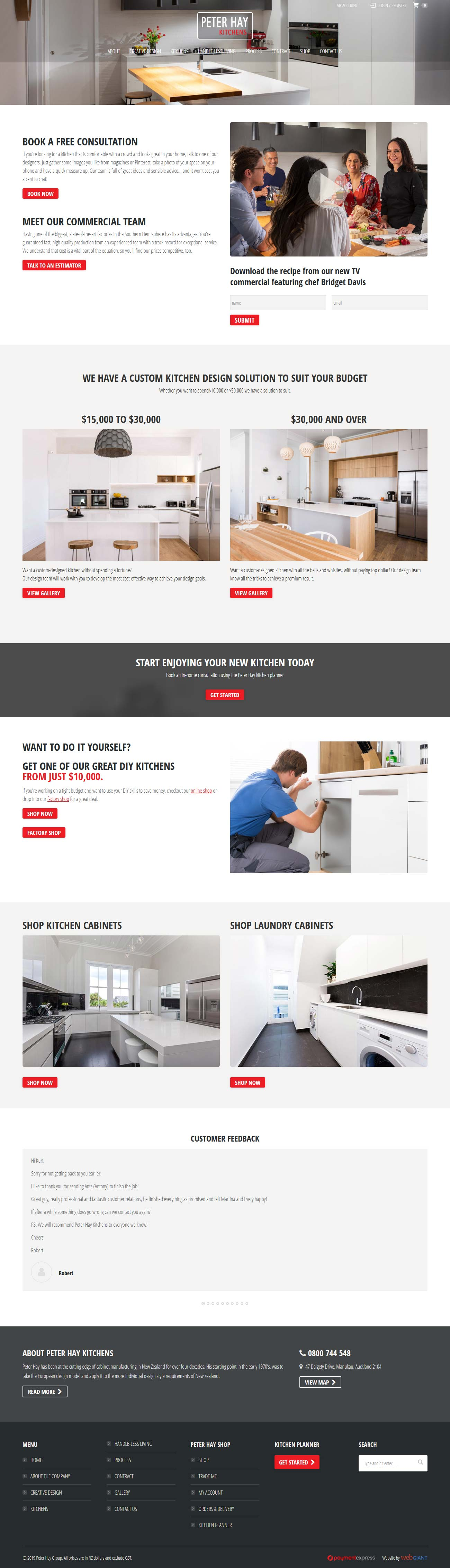 Website design for Peter Hay Kitchens