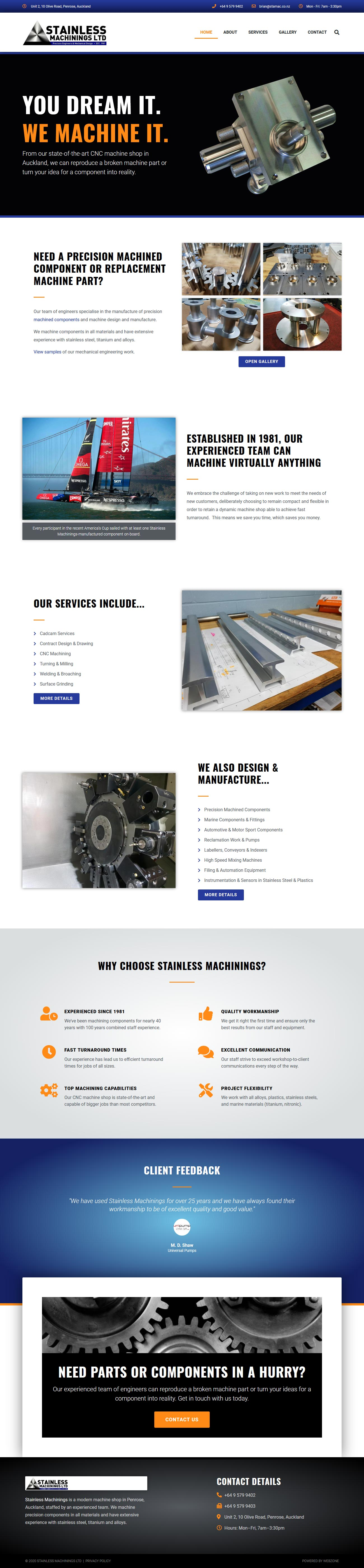 Website design for Stainless Machinings